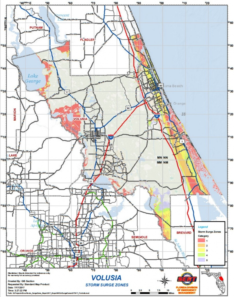 Volusia & Flagler County Evacuation Route/zone & Storm Surge Zone - Florida Evacuation Route Map