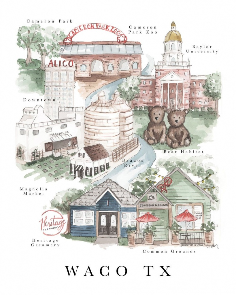 Waco Map Print (New) | Waco - Baylor's Hometown | Waco Texas - Printable Map Of Waco Texas