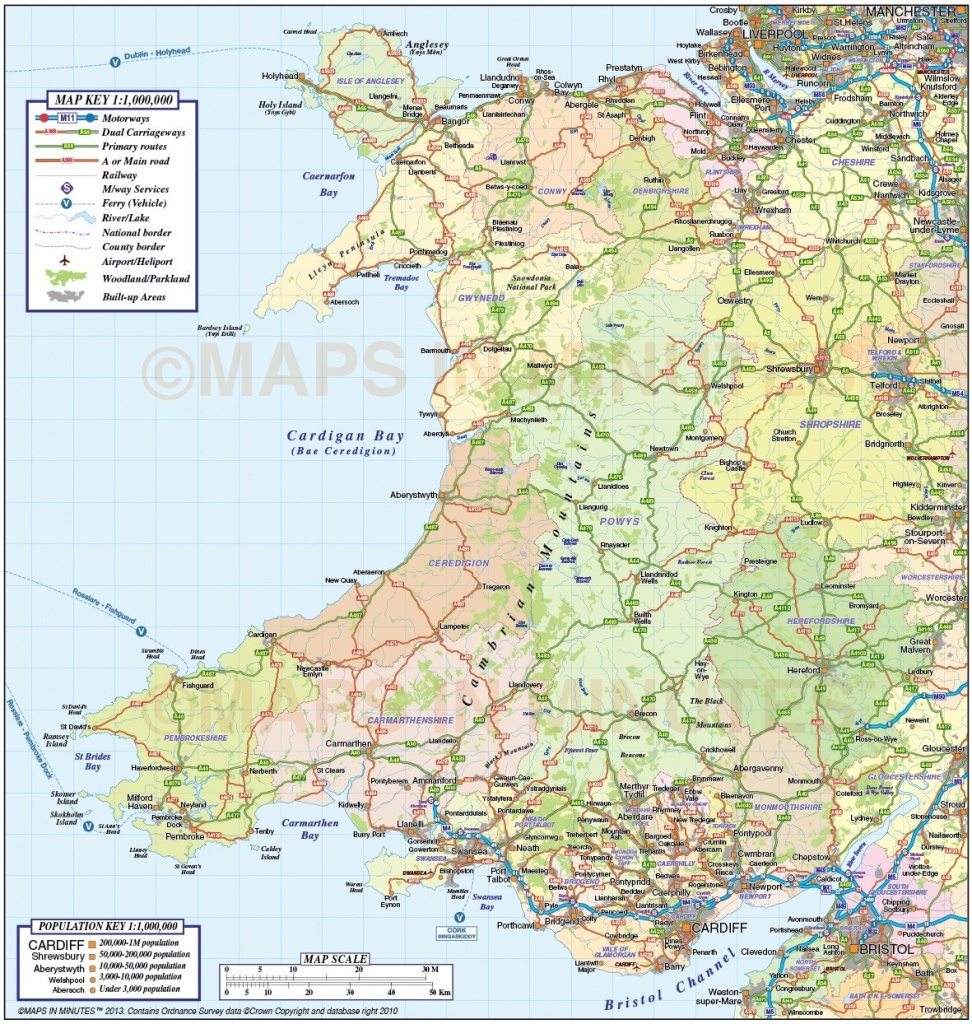 Wales 1St Level County Road & Rail Map @1M Scale In Illustrator And - Printable Map Of Wales