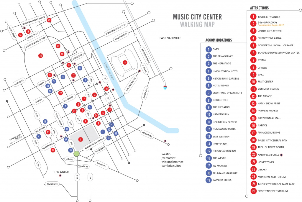 Walking Map | Nashvillemusiccitycenter - Printable Map Of Nashville Tn