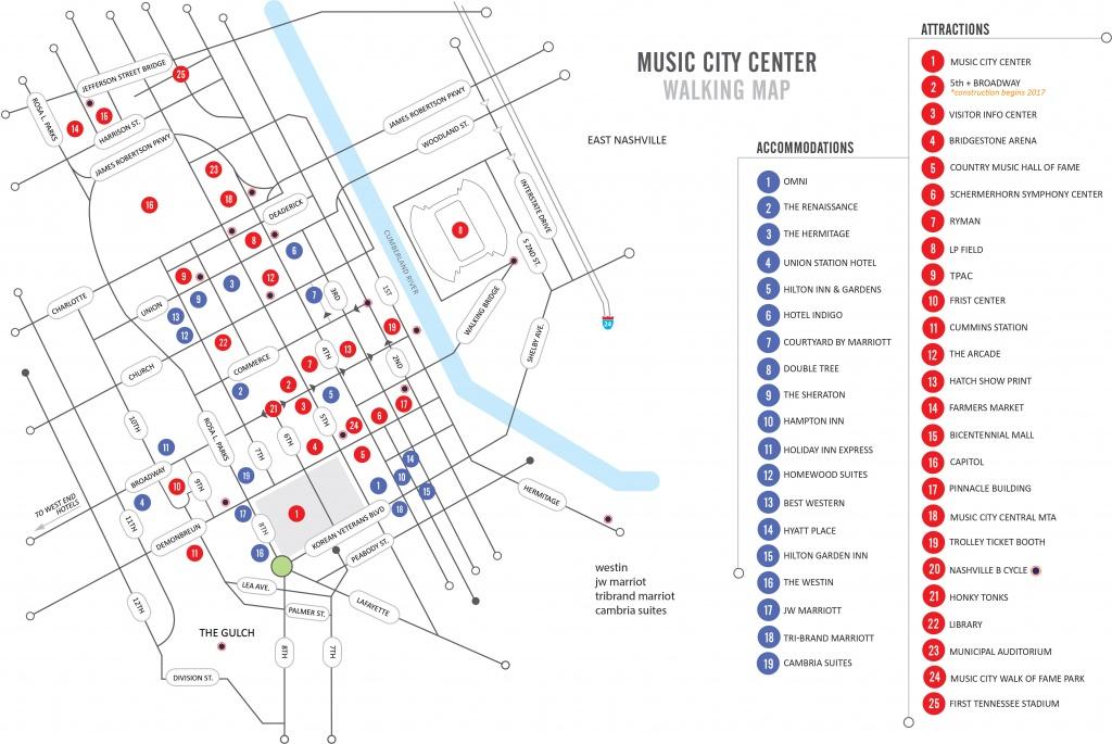 Walking Map | Nashvillemusiccitycenter - Printable Map Of Nashville