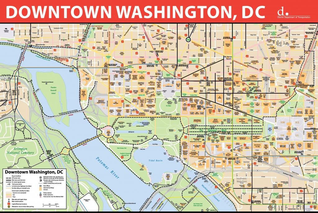 Washington, D.c. Downtown Bike Map - Printable Map Of Washington Dc