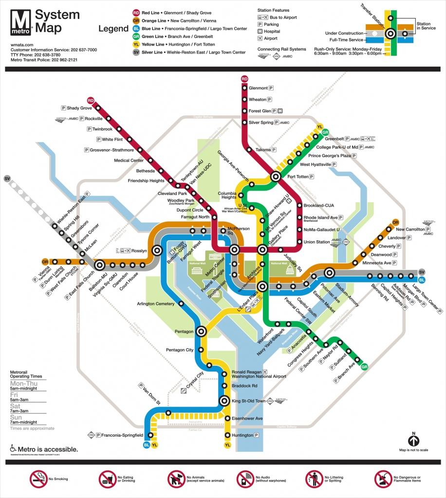Washington, D.c. Metro Map - Printable Metro Map