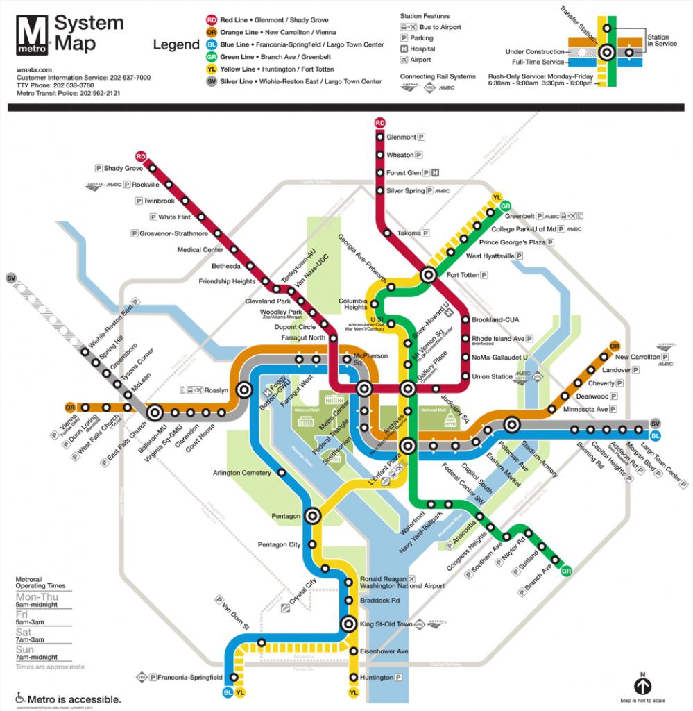 Washington, D.c. Subway Map   Rand - Printable Washington Dc Metro Map