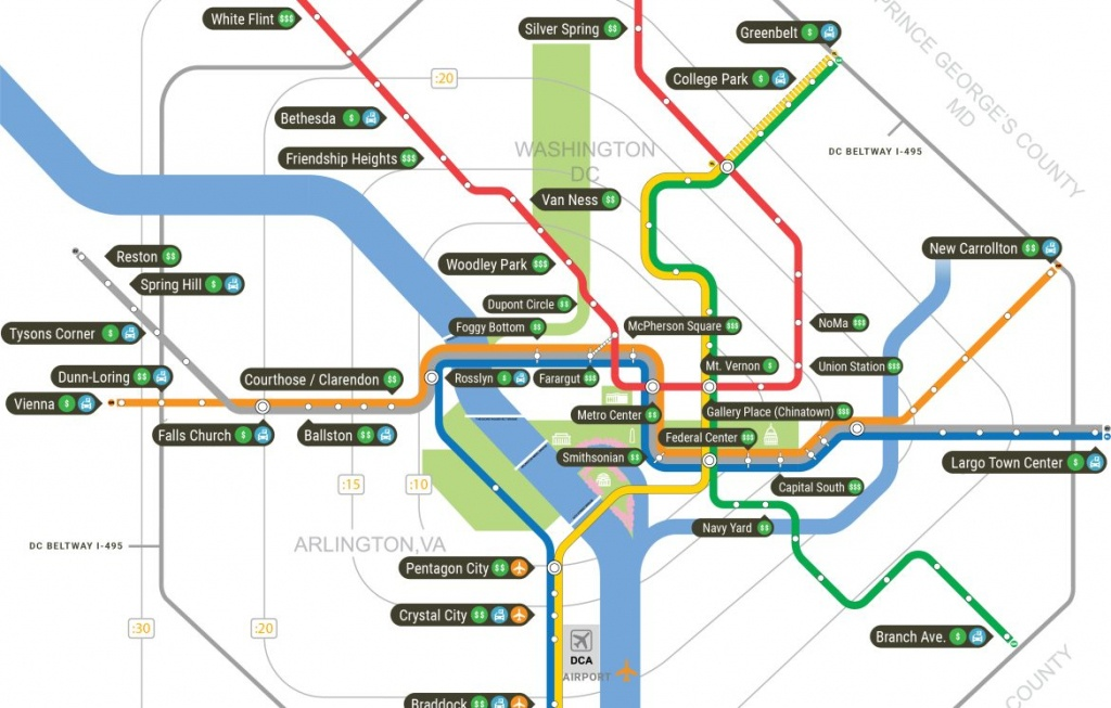 Washington, Dc Hotels Near The Metro - Washington Dc Subway Map Printable