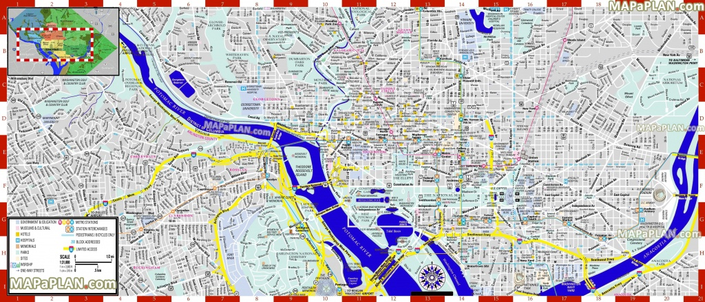 Washington Dc Maps - Top Tourist Attractions - Free, Printable City - Printable Map Of Washington Dc