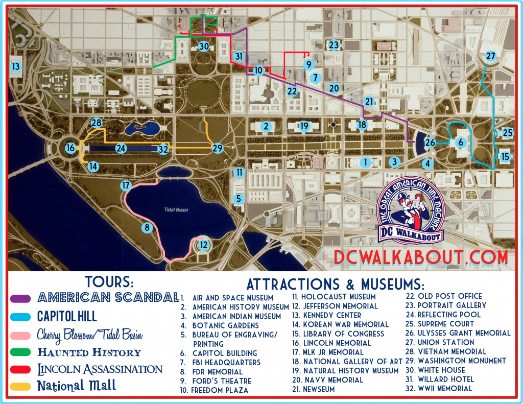 Washington Dc Tourist Map   Tours & Attractions   Dc Walkabout - Printable Map Of Downtown Dc