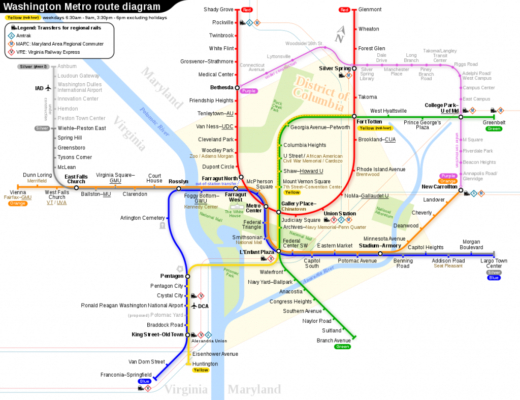 Washington Metro - Wikipedia - Printable Dc Metro Map