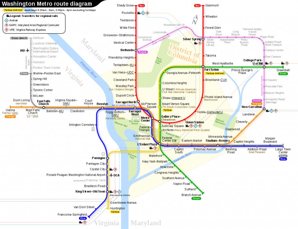 Washington Metro - Wikipedia - Printable Metro Map Of Washington Dc