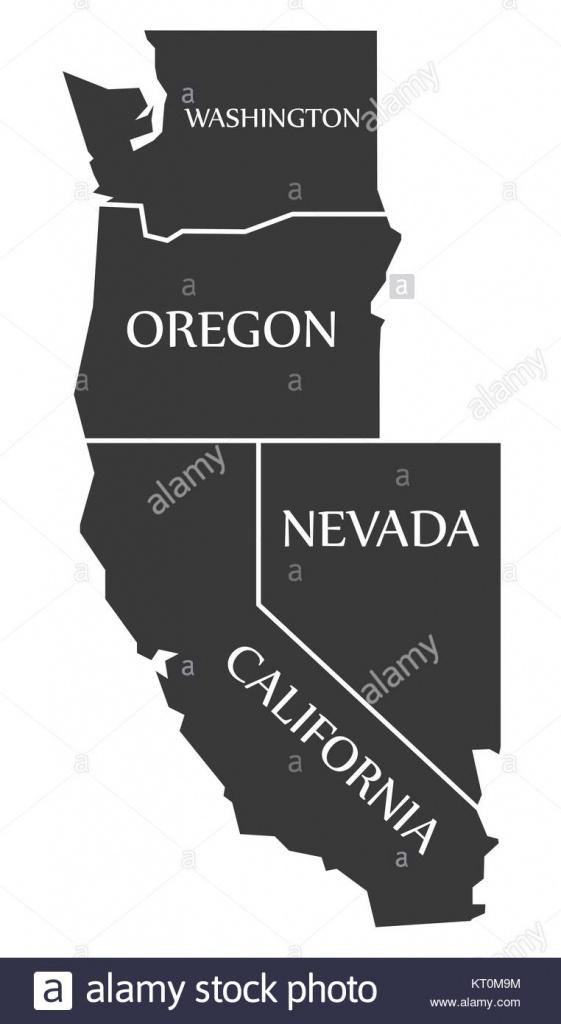 Washington - Oregon - Nevada - California Map Labelled Black Stock - California Oregon Washington Map