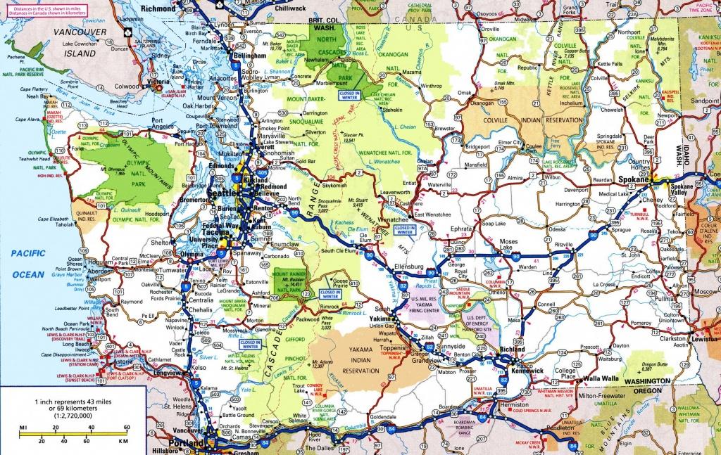 Washington Road Map - California Oregon Washington Road Map