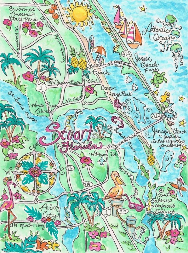 Watercolor Map Of Stuart Florida   Etsy - Map Showing Stuart Florida