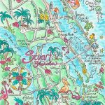 Watercolor Map Of Stuart Florida | Etsy   Watercolor Florida Map