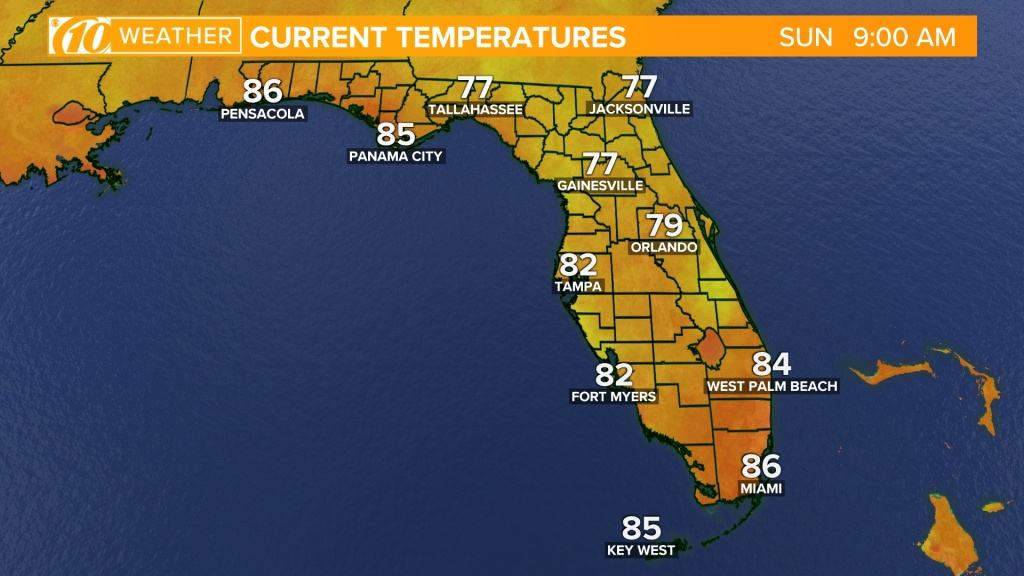 Weather Maps On 10News In Tampa Bay And Sarasota - Florida Weather Map With Temperatures