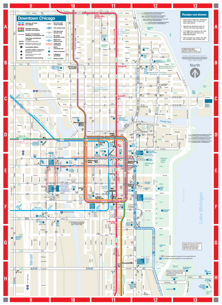 Web-Based Downtown Map - Cta - Printable Map Of Downtown Chicago