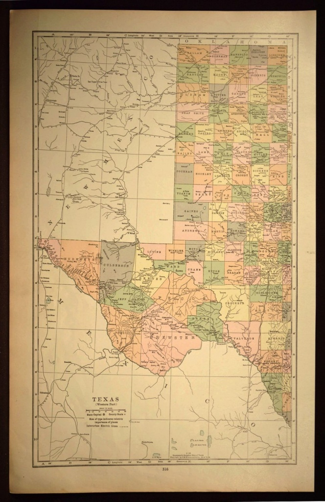 West Texas Map Of Texas Wall Art Decor Large Antique Western Wedding - Large Texas Wall Map