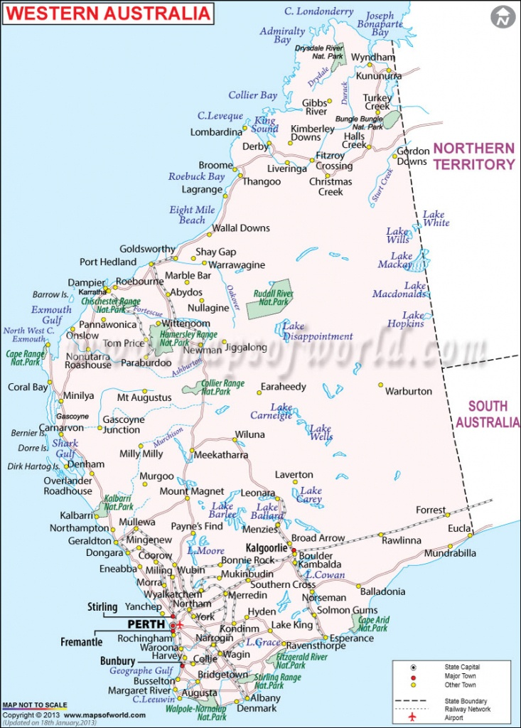 Western Australia Map   Map Of Western Australia - Maps Of World - Printable Map Of Western Australia