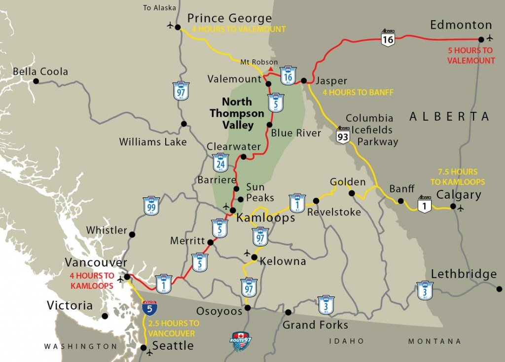 Western Canada Map - Barriere, Lower North Thompson Valley - Printable Map Of Western Canada