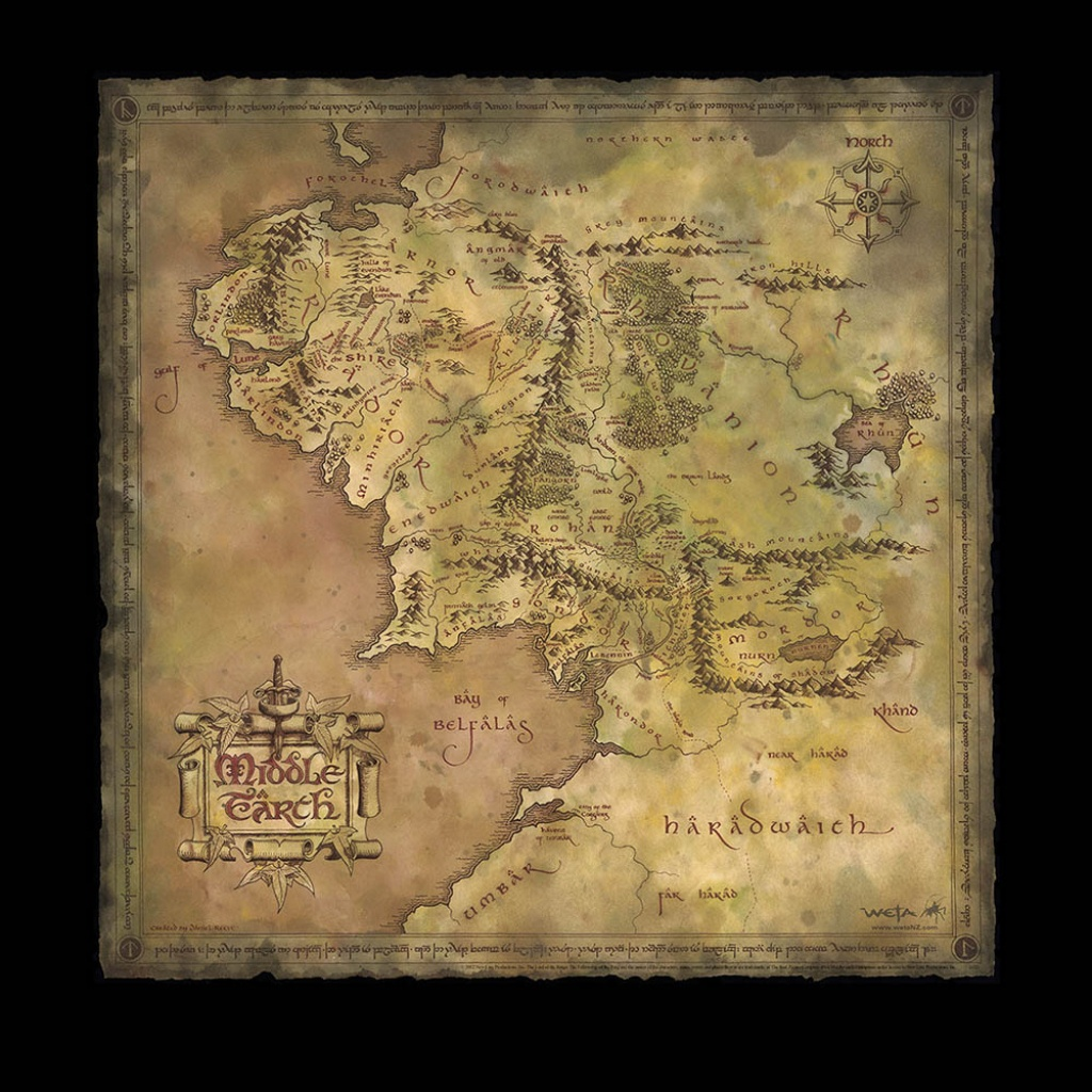 Weta Workshop - Printable Map Of Middle Earth