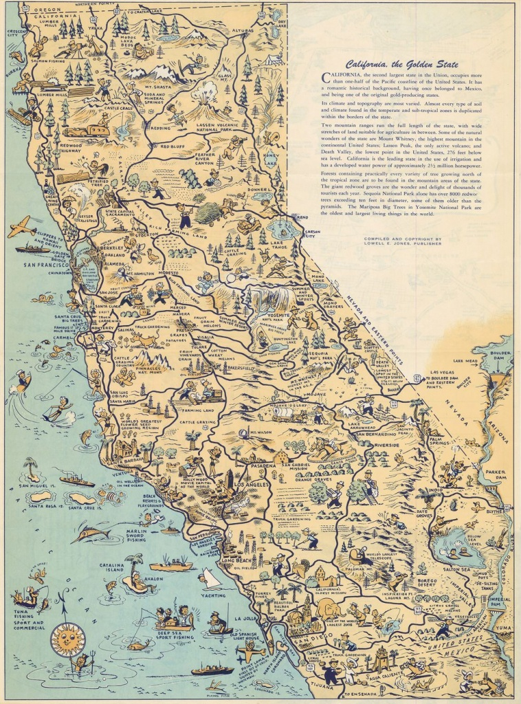 Whimsical Old Map Depicts California At A Time When 'hollywood Was A - Bears In California Map