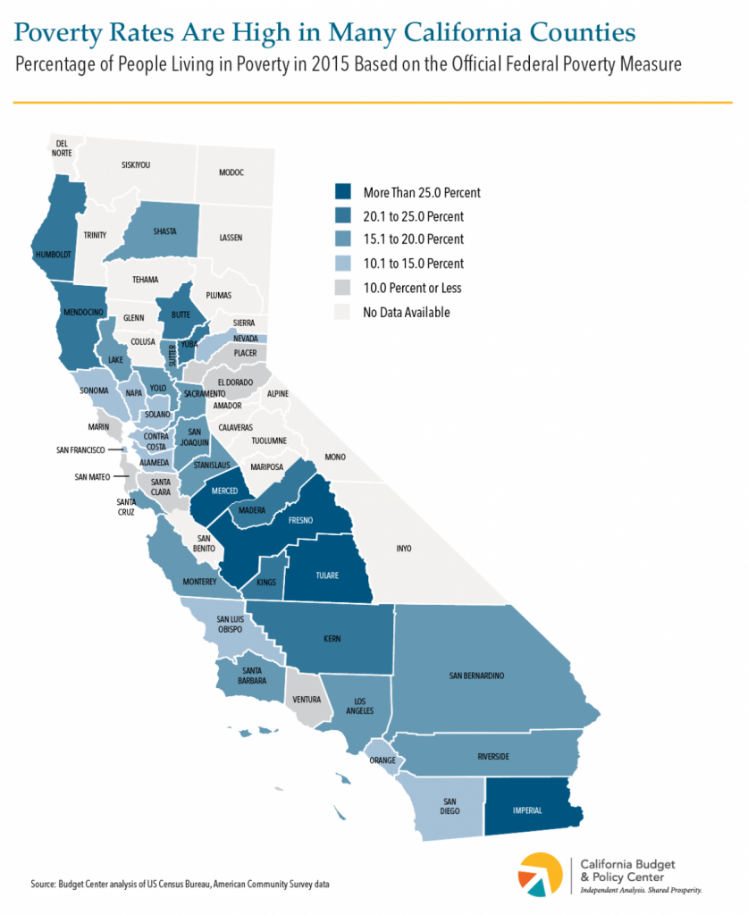 Widespread Economic Disparities In Poverty And Child Poverty Rates - Show Map Of California Counties