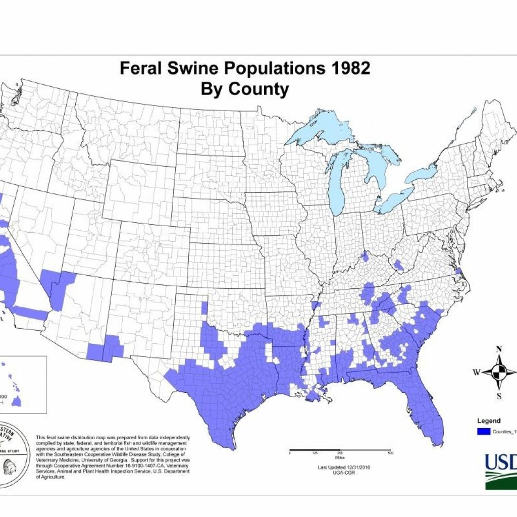 Wild Hog Population Map 2016 Of Hogs In The Us Feralswinemap 768 568 New - Wild Hogs California Map
