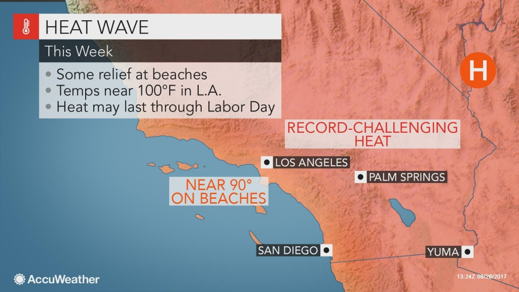 Wildfire Danger To Remain High In Western Us As Heat Wave Persists - Southern California Heat Map