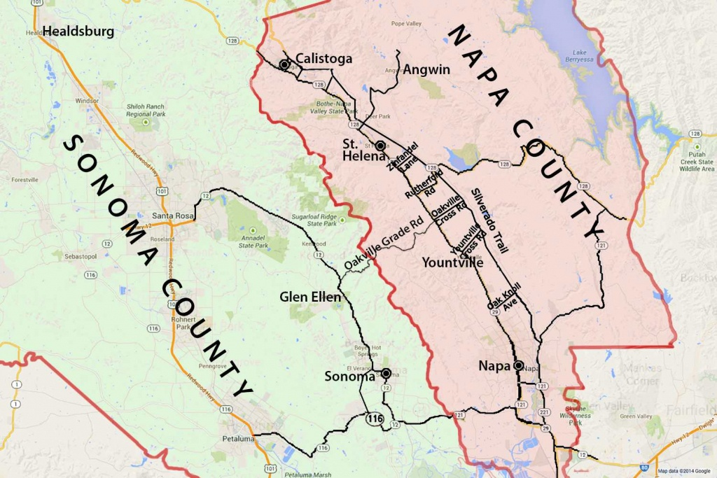 Wine Country Map: Sonoma And Napa Valley - Central California Wine Country Map