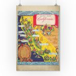 Wine Map Of California Vintage Poster (Artist: Taylor) Usa C. 1950   California Wine Map Poster