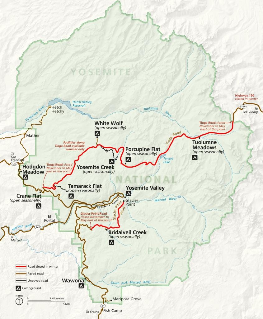 Winter Road Closures - Yosemite National Park (U.s. National Park - Highway 41 California Map