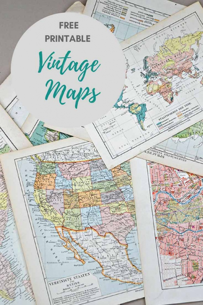 Wonderful Free Printable Vintage Maps To Download - Pillar Box Blue - Create Printable Map With Pins