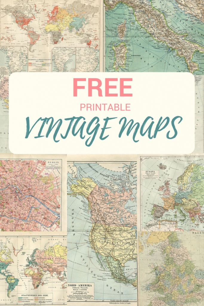 Wonderful Free Printable Vintage Maps To Download - Pillar Box Blue - Vintage World Map Printable