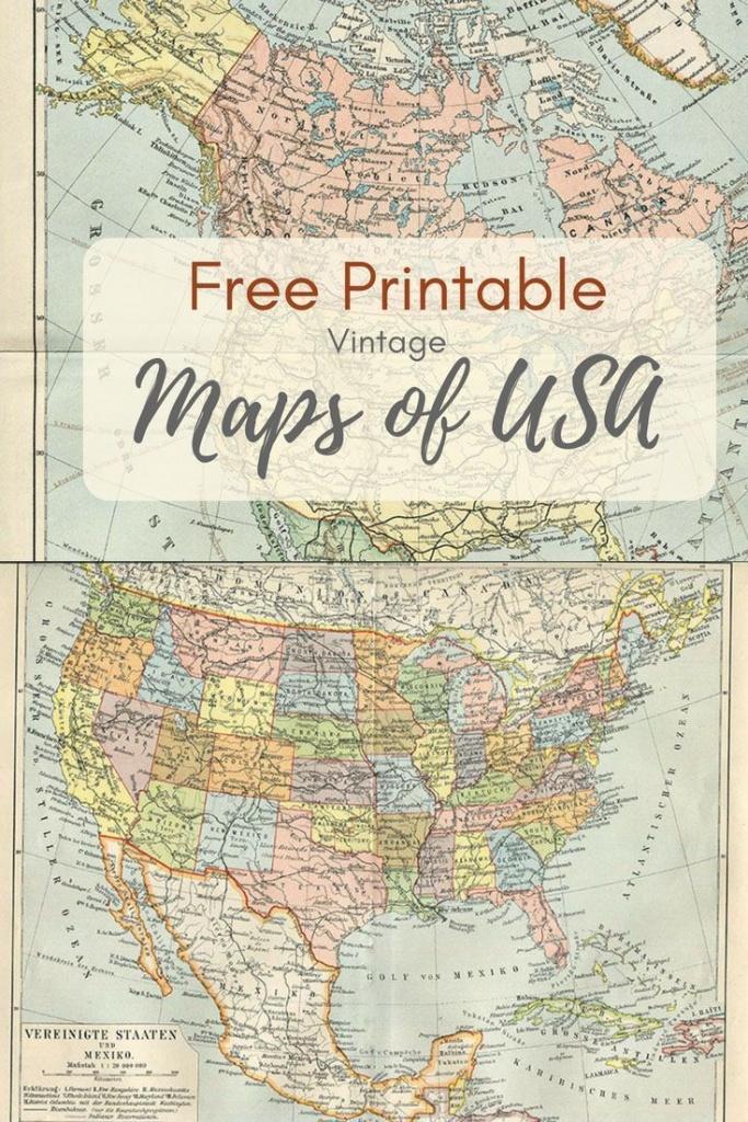 Wonderful Free Printable Vintage Maps To Download | Printables | Map - Free Printable Usa Map