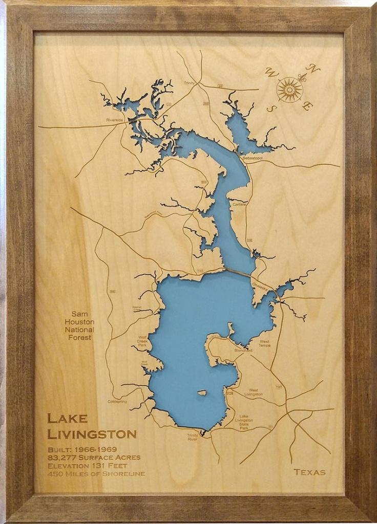 Wood Laser Cut Map Of Lake Livingston Texas Engraved Map | Etsy - Map Of Lake Livingston Texas
