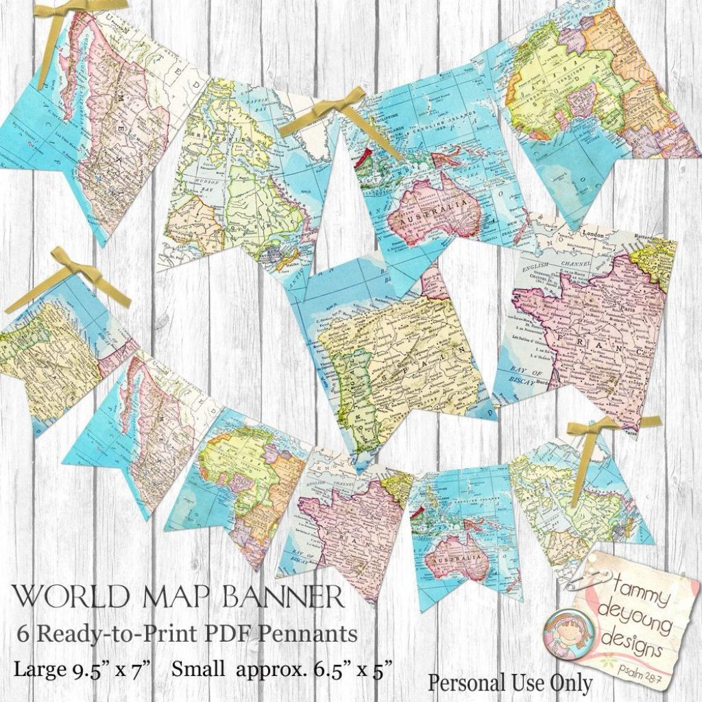 World Map Bunting. Map Garland, Printable Map Banner Travel Theme - Printable Map Banner