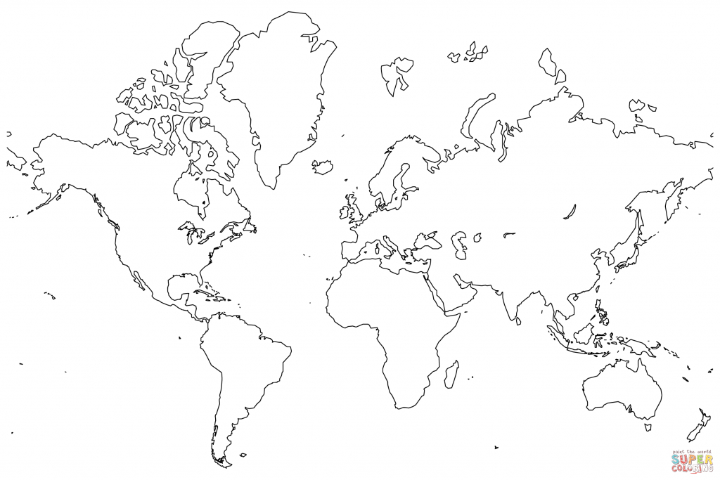 World Map Coloring Page For Kids - Coloring Home - Colorable World Map Printable