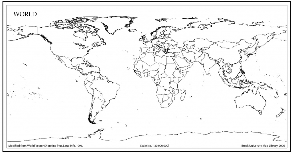 World Map Outline With Countries | World Map | Blank World Map, Map - World Map Black And White Printable With Countries