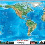 World Physical Wall Map Americas Centered With World Wonders   Topographic World Map Printable