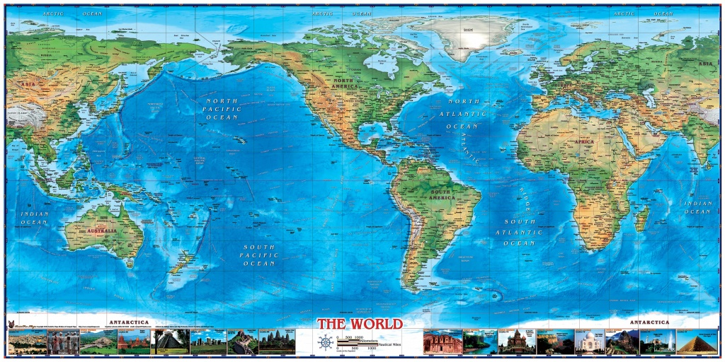 World Physical Wall Map Americas Centered With World Wonders - Topographic World Map Printable