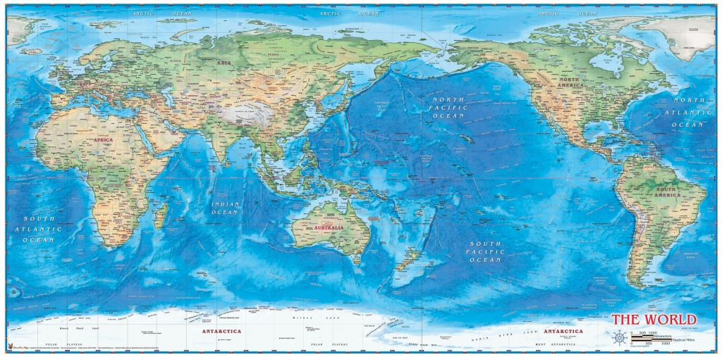 World Physical Wall Map Pacific Centeredcompart Maps - Printable World Map Pacific Centered
