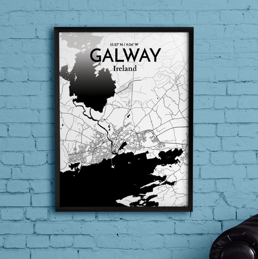 Wrought Studio 'galway City Map' Graphic Art Print Poster In Ink - Galway City Map Printable