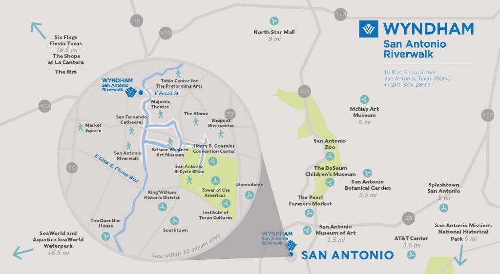 Wyndham San Antonio River Walk Hotel Area Map - Map Of Hotels Near Riverwalk In San Antonio Texas
