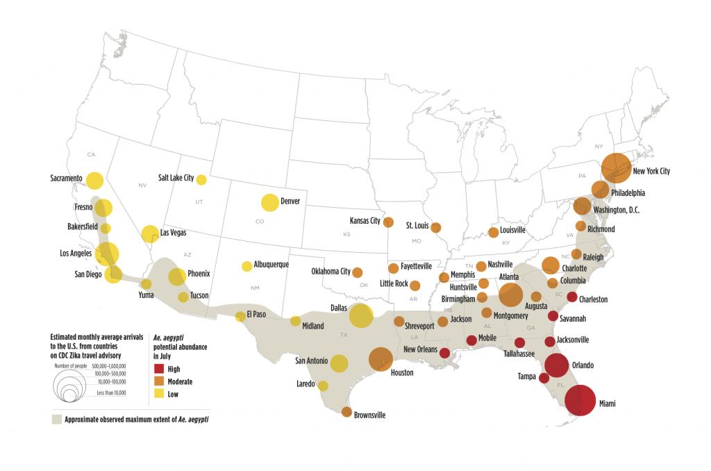Zika Virus May Affect 50 U.s. Cities   Earth   Earthsky - Zika Virus Texas Map