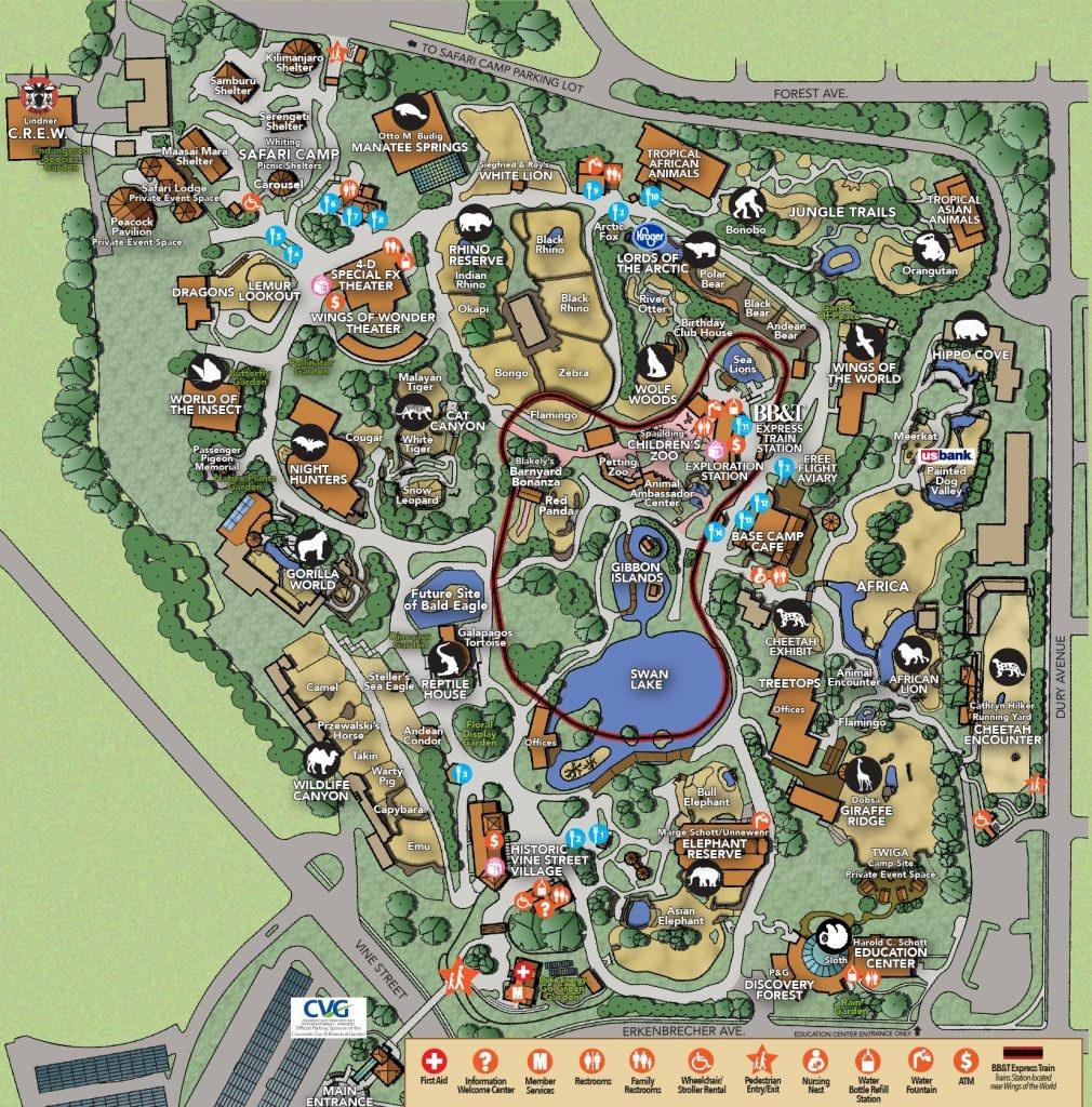 Zoo Map - Cincinnati Zoo & Botanical Garden - Printable Cincinnati Map